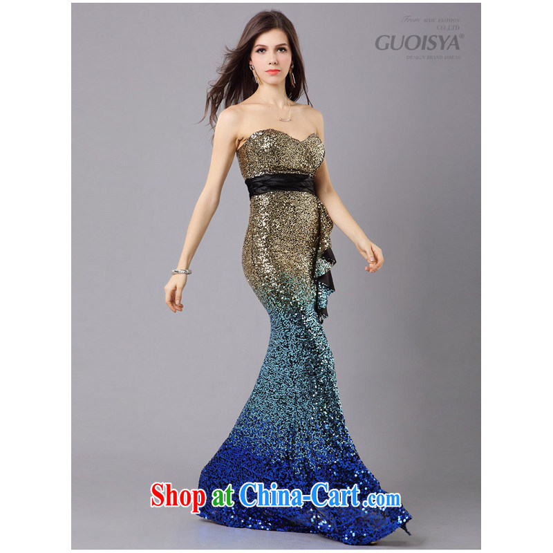 LED color dress, gradient Evening Dress wedding dress at Merlion dress stylish and elegant blue XL