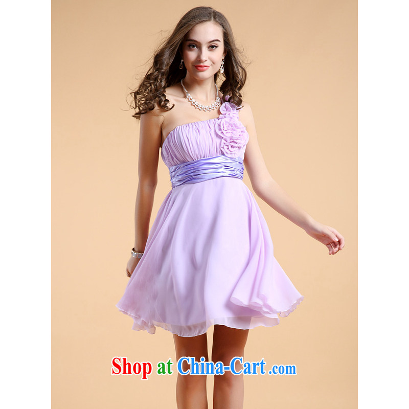guoisya LED color dress single shoulder with flowers bridesmaid wiped his chest small dress short skirt with Violet XL