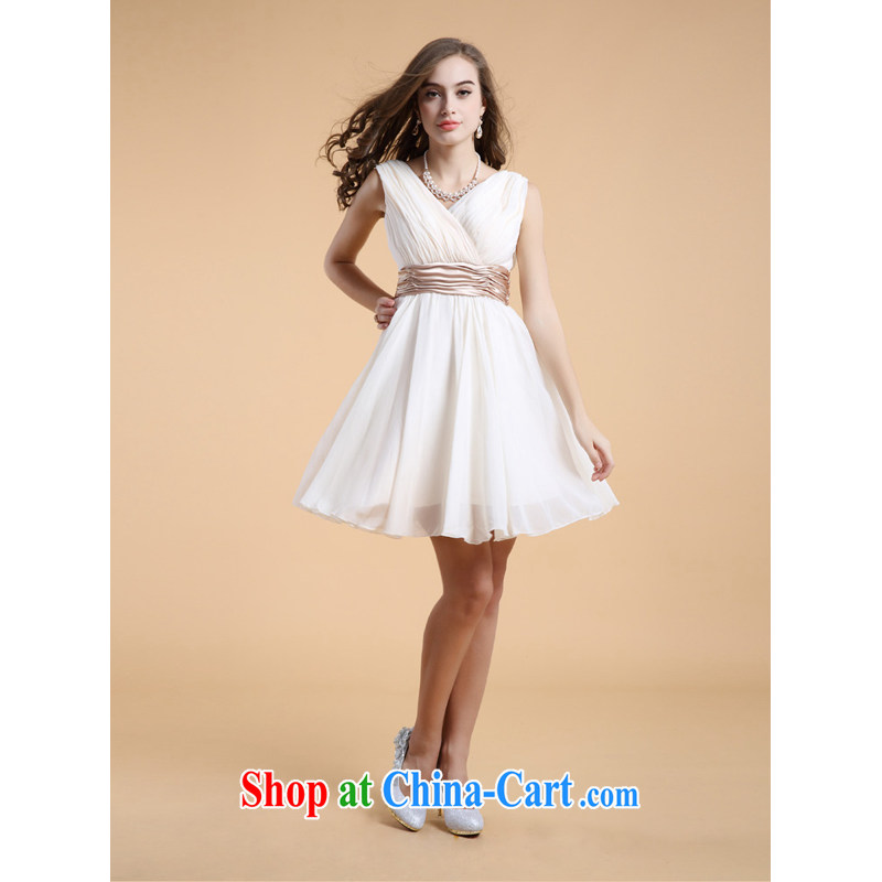 LED color bridesmaid dress short paragraph 2014 snow woven bridesmaid dress small dress Deep V collar bows dress apricot XL