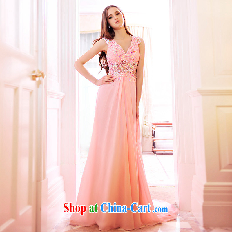 Garden MTF spring 2015 new drape bridal wedding dresses V for snow woven lace wedding toast serving light pink tailored