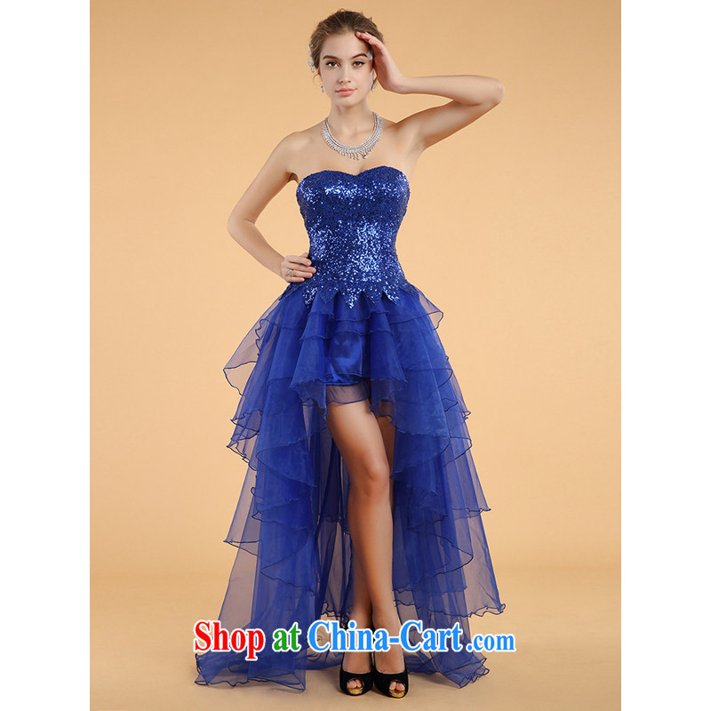 An MMS message, 2015 blue dress show off their chest short long bows dress dress trade dress blue XL