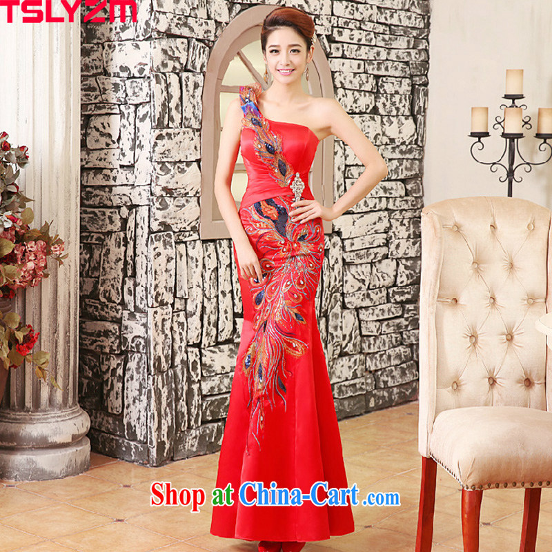 The angels, according to wedding dresses new 2015 crowsfoot dresses bridal toast serving red diagonal shoulder Evening Dress red dress wedding dress female Red XXL