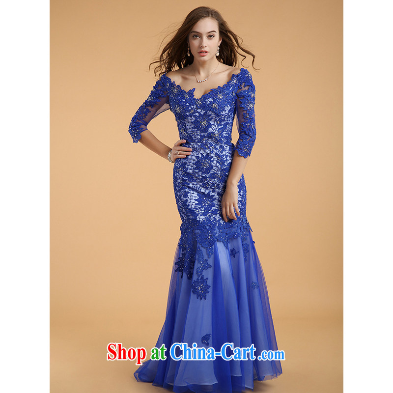 guoisya also contributed 2015, long-tail crowsfoot skirt Deep V collar long-sleeved trade dress blue XL