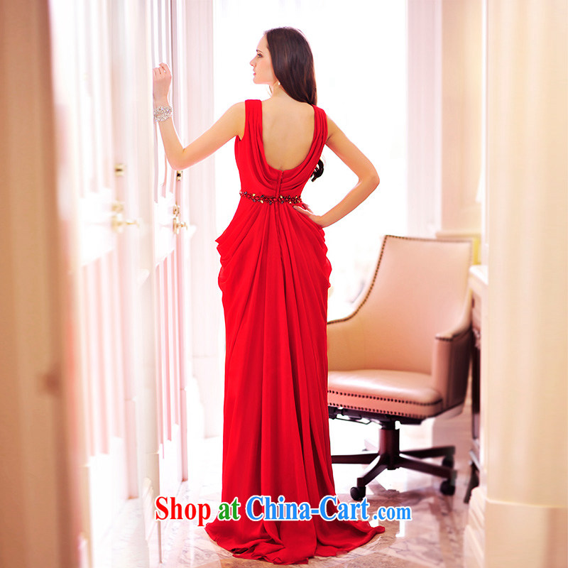 Garden spring 2015 new bridal wedding dresses V brought back exposed snow woven evening banquet toast L serving 21,465 red 15 CM tail tailored, garden, and shopping on the Internet