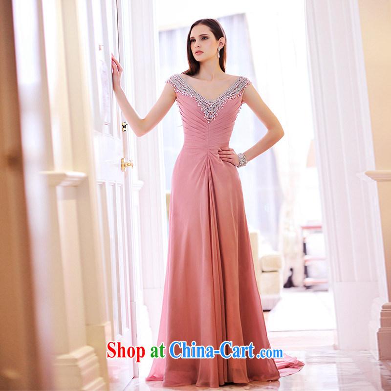 Garden 2015 new dress bare color bridal toast serving evening dress shoulder V collar long L ��ɳ 21,476 color tail 15 CM tailored