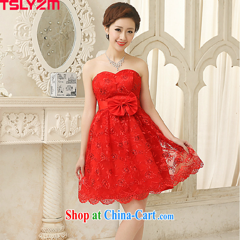 The angels, according to 2015 spring and summer new bride wiped his chest lace red toast serving small dress dress Evening Dress short, pregnant women, the women 618 special red XXL