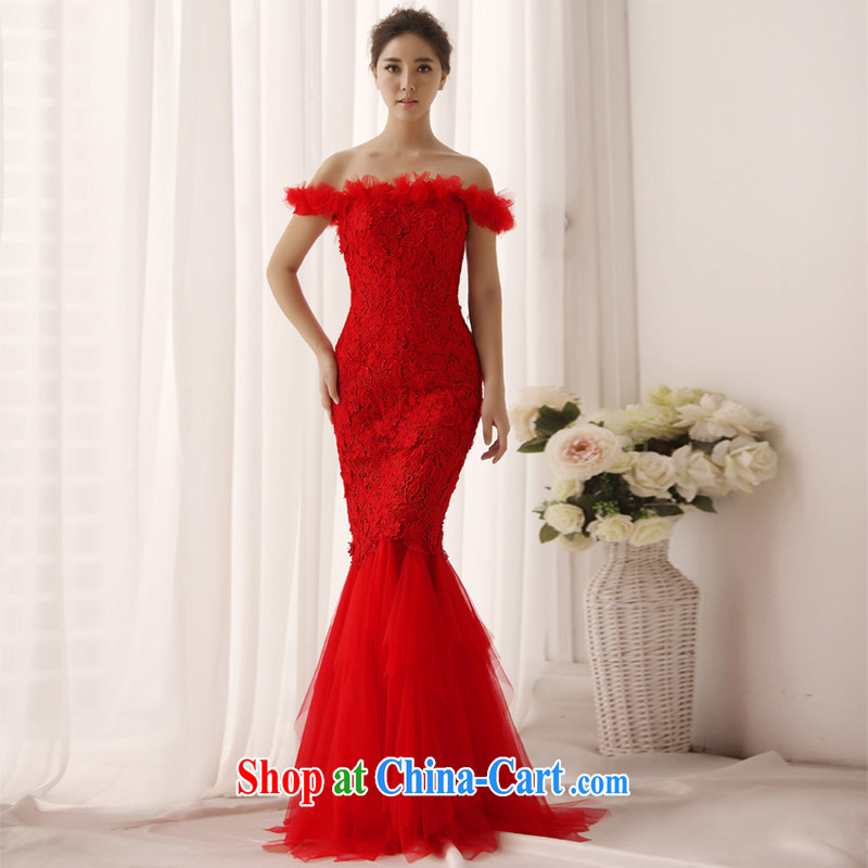 2015 New at Merlion dress the Field shoulder bridal toast clothing evening dress wiped his chest, red L 0395 red tailored