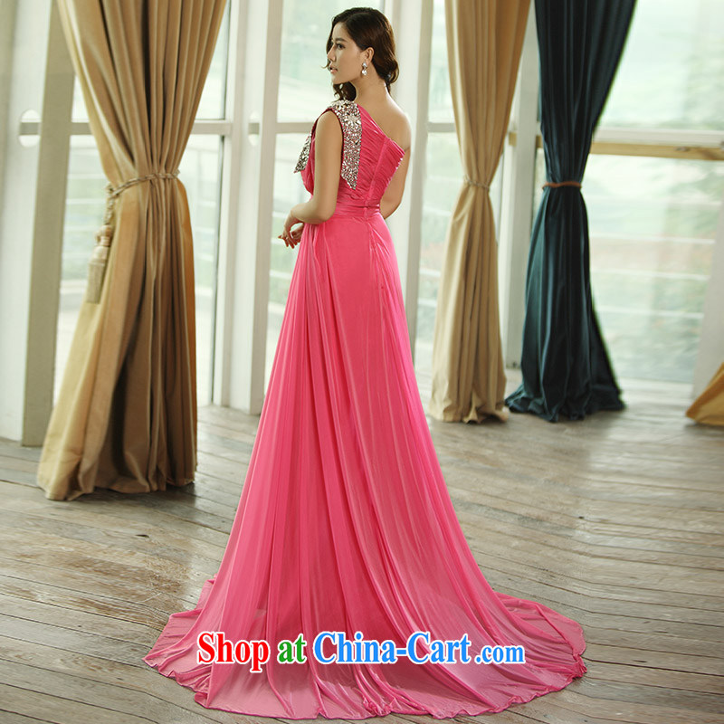 2015 new single shoulder diamond jewelry bridal gown Evening Dress toast night service with a shoulder strap L of 0399 red with a tailored, garden, shopping on the Internet