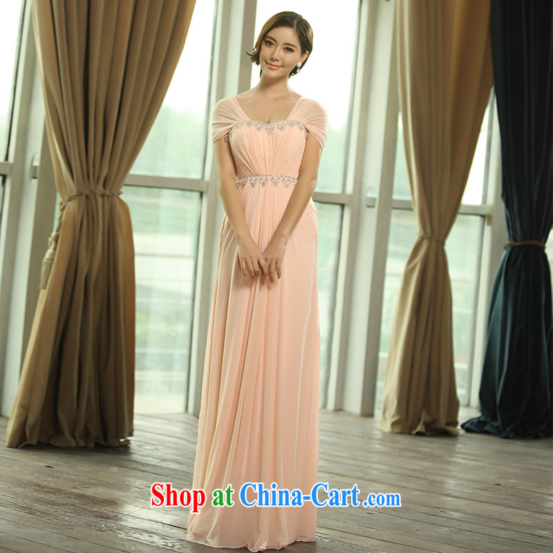 2015 new bag shoulder straps, bridal wedding dress toast serving evening dress Evening Dress L 0393 pale pink tailored