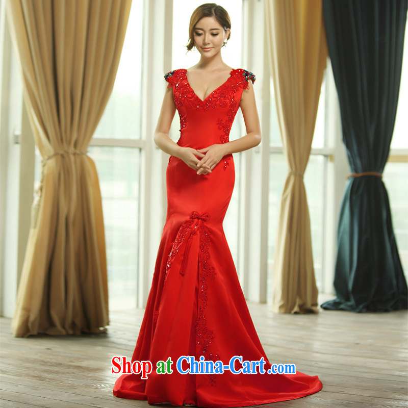 2015 new shoulder straps Deep V collar sexy bridal toast clothing dress package and crowsfoot dress L 0389 red with a tailored