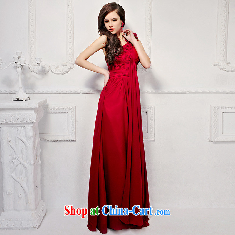 2015 new Korean long red wedding dresses, shoulder Princess bride video height bows dress 919 deep red tailored