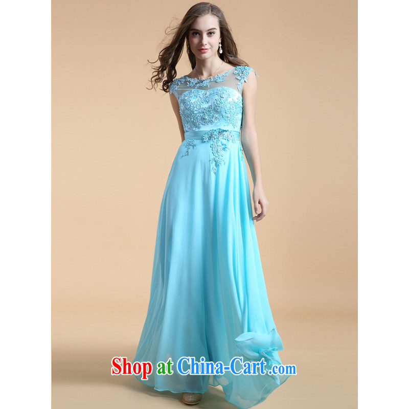 guoisya also contributed 2015 embroidery lace Evening Dress long bridesmaid banquet with foreign trade dress light blue XL