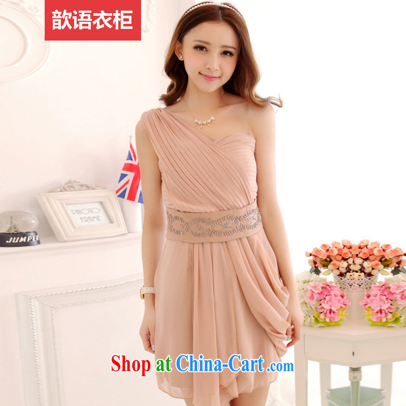 Zhe, wardrobe 2015 summer new dress dresses bridesmaid bridal a shoulder short X 3913 bare pink