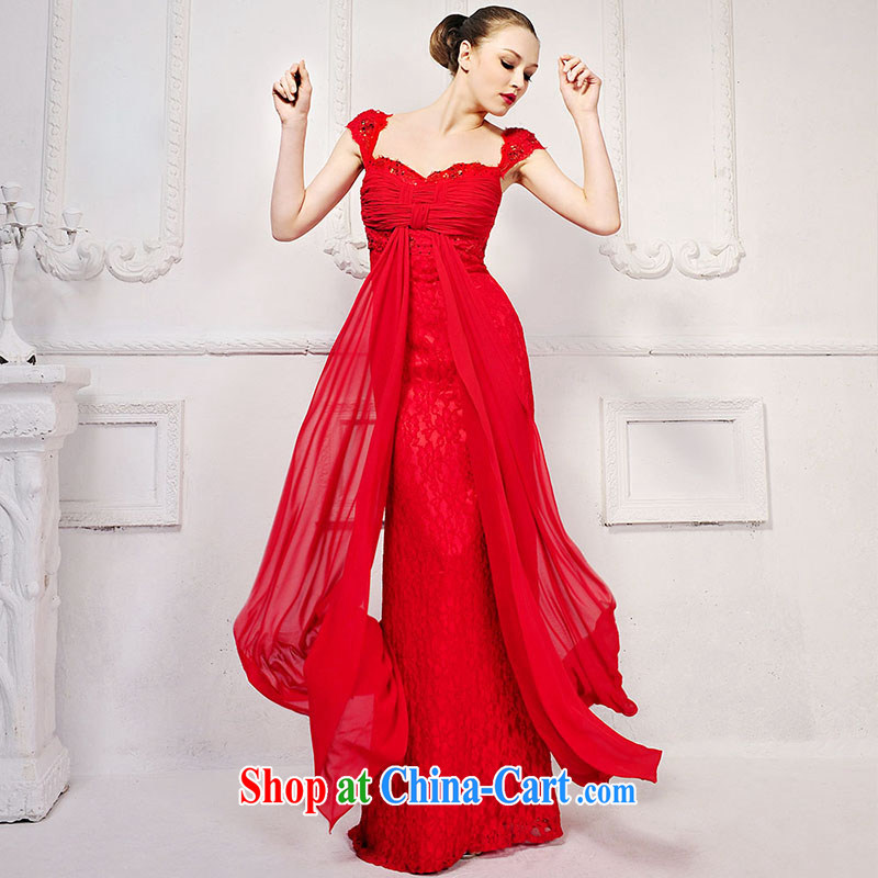 Garden red straps wedding dress bridesmaid bridal with dress uniform toast long 2015 new L 896 red tailored