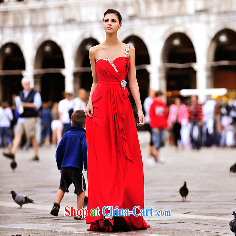 2015 new Garden MTF Venice real-time Shoot Single shoulder bare chest bridal sweet waist in marriage wedding dresses L 21,451 red tailored