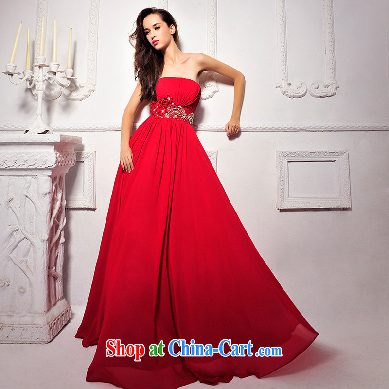 2015 new Garden Korean version Mary Magdalene marriage chest wedding video thin red long bows dress L 1291 red tailored