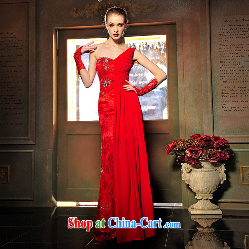 2015 new wedding dresses bridal bridesmaid long single shoulder small dress red Korean dress uniform toast L 1349 red tailored