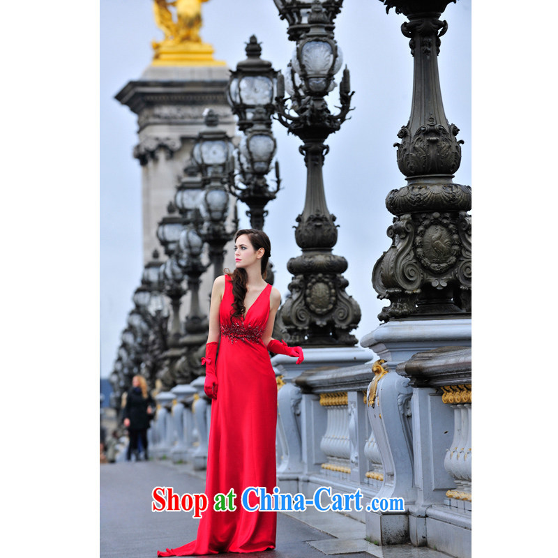 Garden Deluxe Big 2015 new sense of deep V for emulation, Lumbar Back dress uniform toast L 3001 red tail 30 CM tailored