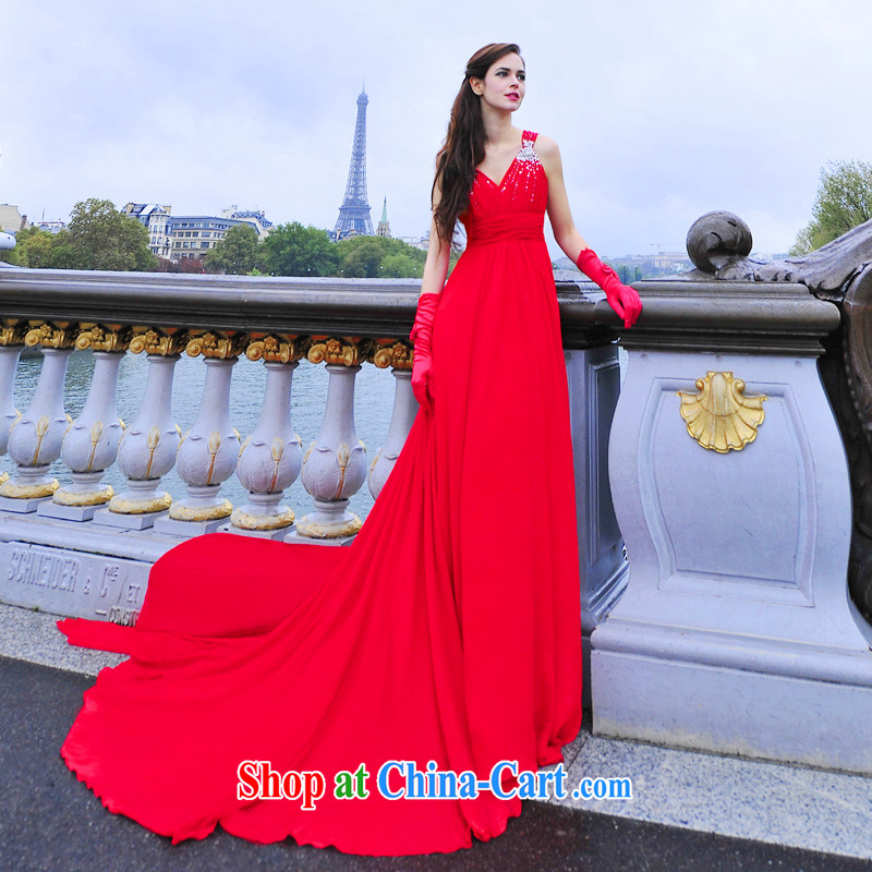 Garden 2015 New Flash drill double-shoulder Deep V collar bridal Evening Dress dress uniform toast L 3002 red 50 CM tail tailored