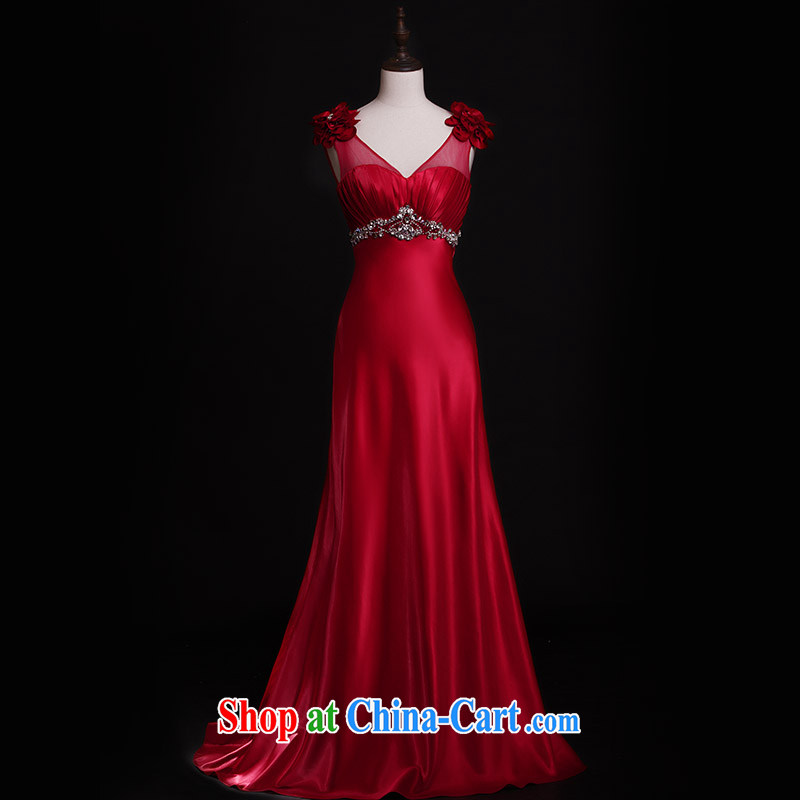 Garden 2015 new dress L 21,421 shoulder lace bare chest long bridal toast clothing dress Red Red Tail 15 CM tailored