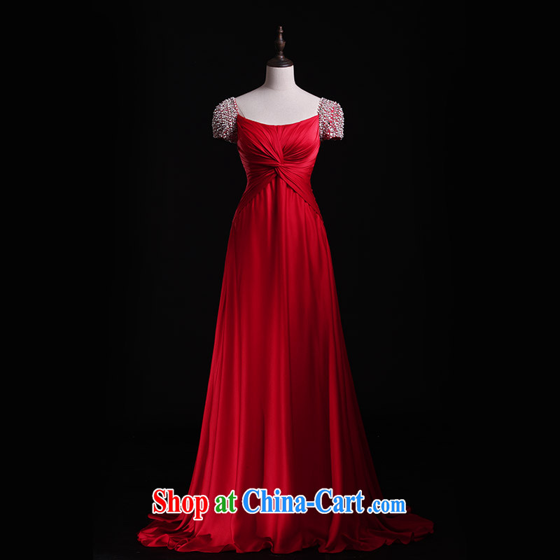 Full court, 2015 new wedding dresses bridal toast Service Pack shoulder strap cuff long red evening dress L 21,419 red tailored