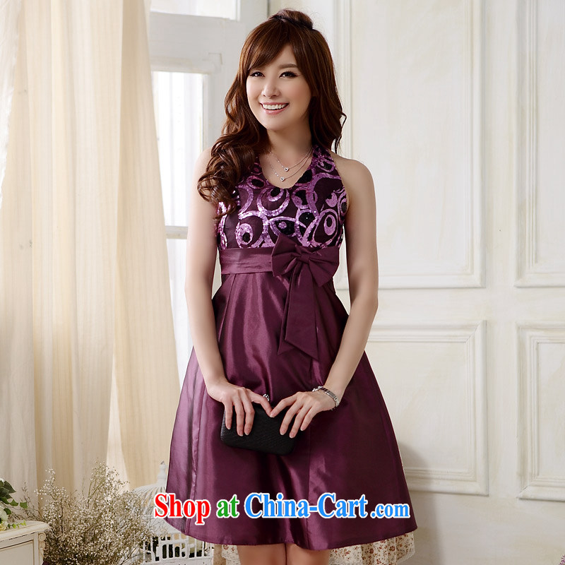 JK 2. YY Western-style fashion scarf tie dress sexy V Package for chest-waist small dinner dress dresses J 9803 purple XXXL