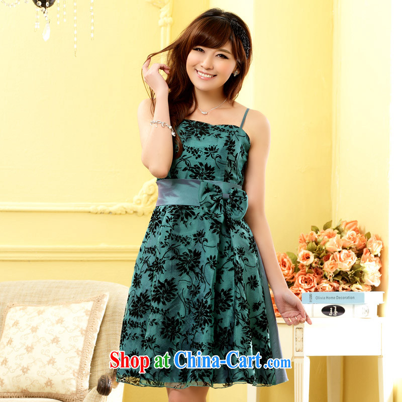 JK 2. YY Western style stylish evening dress Beauty Chest Late Princess sister small dress dresses J 9705 green XXXL