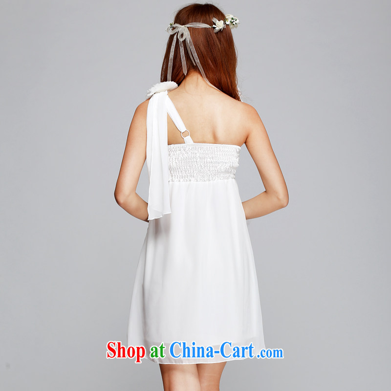 Honey, Addis Ababa 2015 sweet elegance single shoulder flower bow-tie-back swing dress dance dress evening appointment dress Princess dress sister with beach skirt are white, honey, Addis Ababa (Mibeyee), online shopping