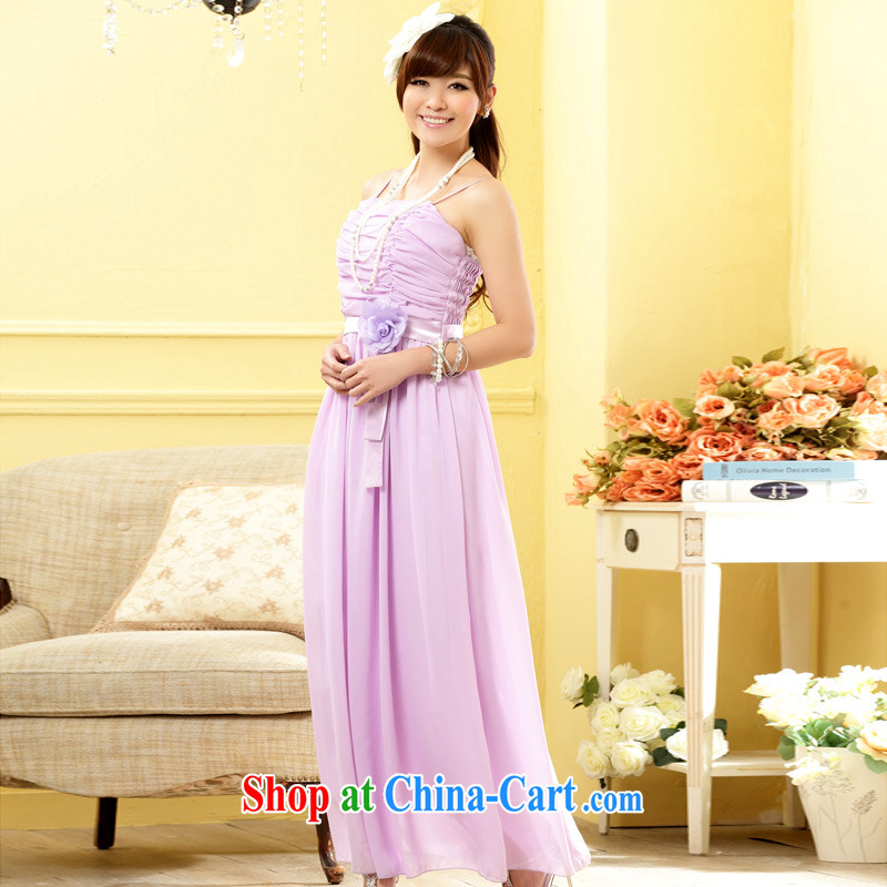 JK 2. YY 2014 new stylish sister dress bridesmaid flowers longer dress snow woven large code dresses J 9809 purple XXXL