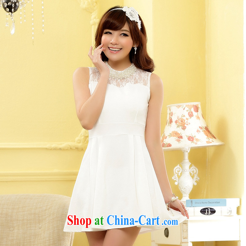 JK 2. YY 2014 new gathering sweet MM of staples for Pearl cuff cut the waist larger than the small dress dresses J 9608 white XXXL