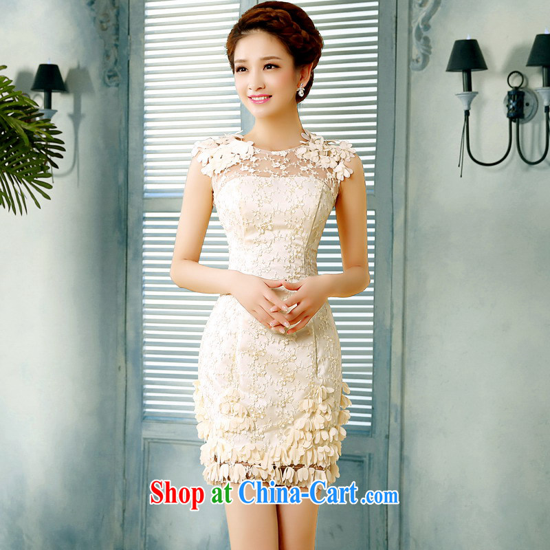 Mrs Alexa Lam unpunished new 2014 summer lace small dress shoulders short petals, cultivating marriages served toast Evening Dress 15,161 champagne color S _waist 2.0_