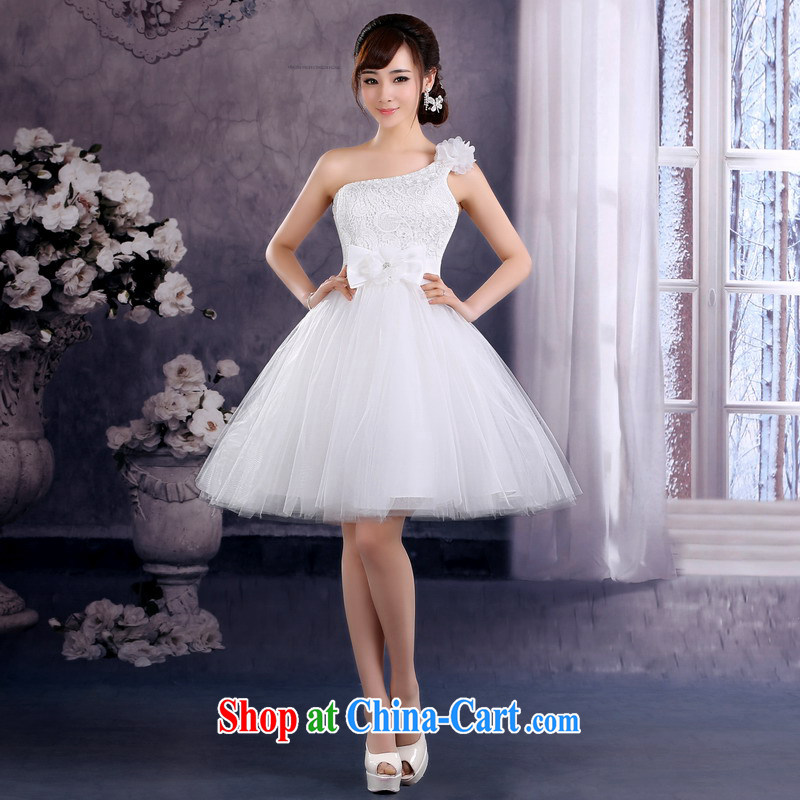 Mrs Alexa Lam GIVEN THE SHOULDER Evening Dress 2014 new marriages served toast flowers show bridesmaid short skirts 15,961 white L (waist 2.4) pre-sale within a week shipment