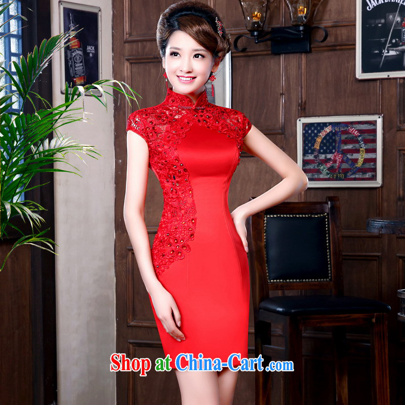 Mrs Alexa Lam unpunished marriages red bows new 2014, short-sleeve lace summer staple drill improved short cheongsam 16,851 red M (waist 2.1)