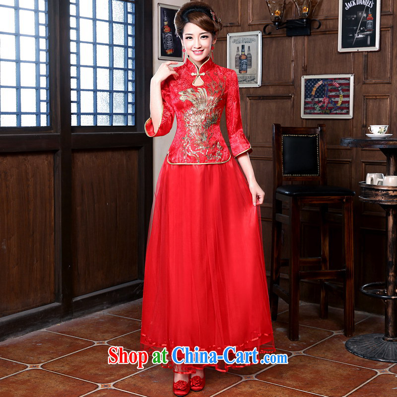 Mrs Alexa Lam unpunished new 2014 marriage, for Dress Chinese Dress bride Xiao Fengxian package bows serving 18,058 red M _waist 2.1_