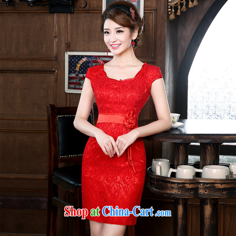 Mrs Alexa Lam unpunished new summer-short cheongsam marriages served toast red improved Chinese beauty dress 18,151 red L _waist 2.2_
