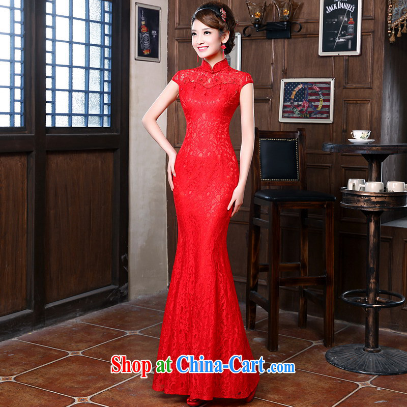 Mrs Alexa Lam go scot bridal lace Chinese long dress new 2014 wedding toast serving modern improved cheongsam 18,252 red XS _waist 1.9_