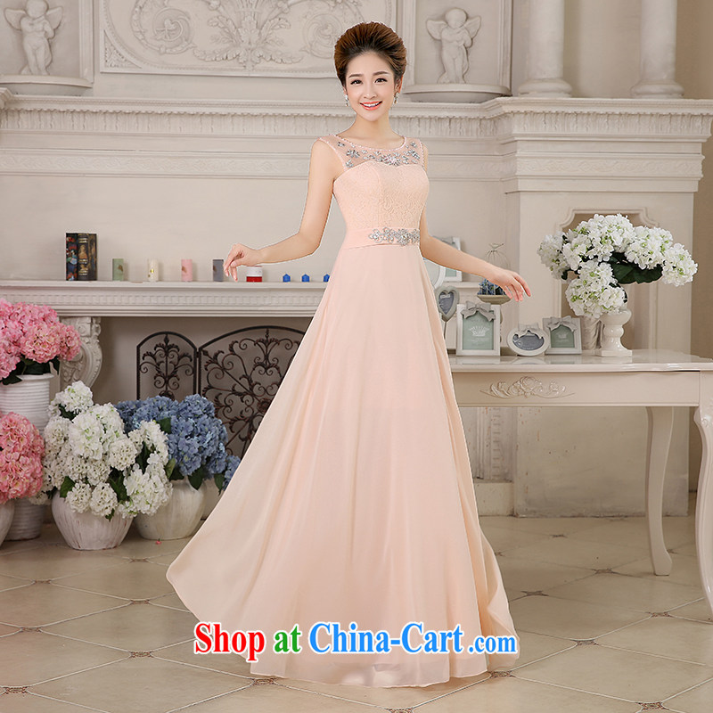 The United States, wedding dresses 2015 new bride's toast serving long lace gauze inserts drill shoulders beauty dress uniforms L 0043, pink XXL