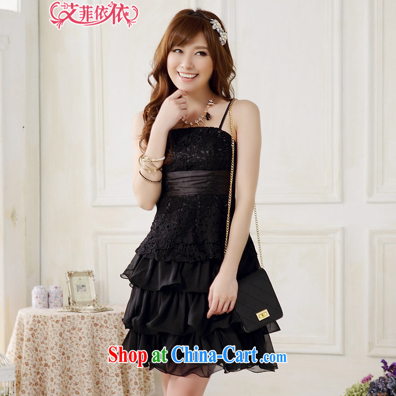 The Parting sweet Princess cakes strap with small dress skirt 2015 Korean version of the new, shorter, lace snow woven stitching binding with sister dress 5264 black XXXL code