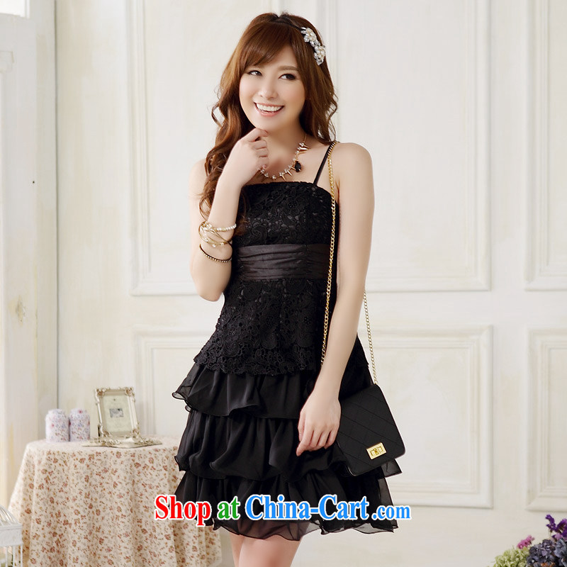 JK 2. YY 2014 new sweet lace tie cake Princess skirt dress sister mission Small dress skirt J 9909 black XXXL