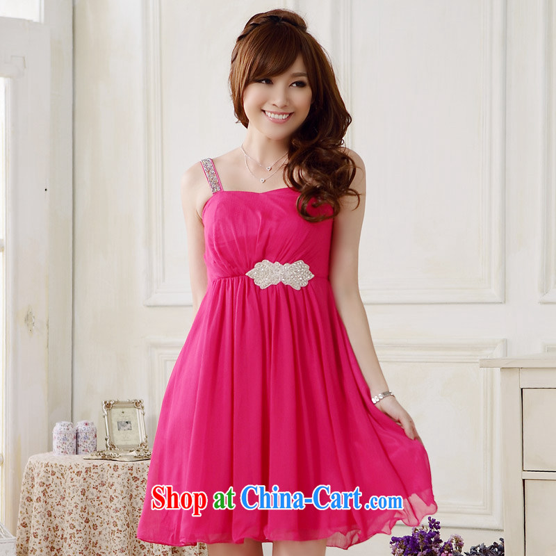 JK 2. YY 2014 new stylish appointments and feel light drill single shoulder dress code the dress in dress dresses J of 9708 red XXXL