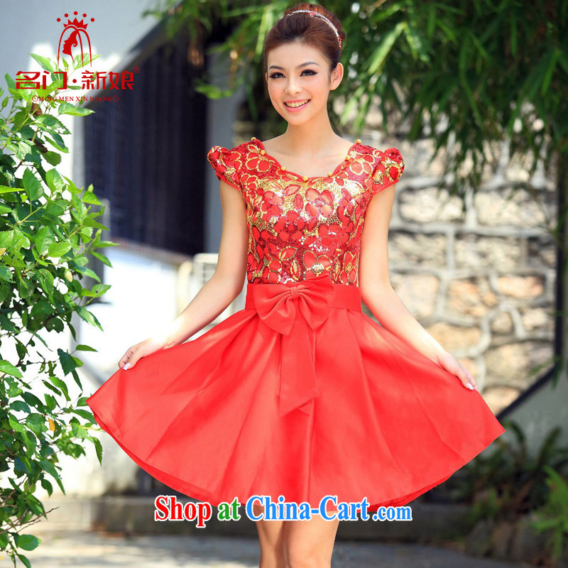 The marriages, short small dress uniform toast 2015 new bridesmaid dress uniforms 293 red L