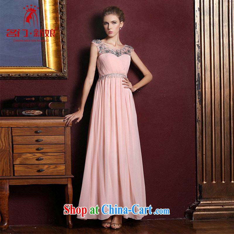 The bride's wedding dresses 2015 new dress uniform toast bridesmaid long elegant evening dress 332 pink L