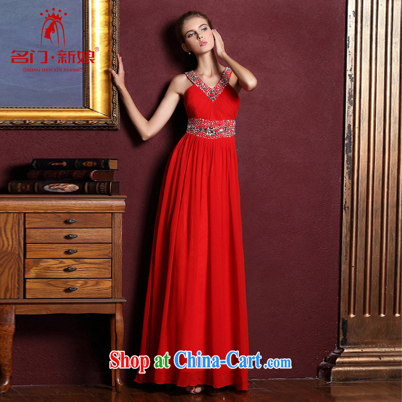 The bride's wedding dresses red long-must also dress wedding dress toast serving 884 red L