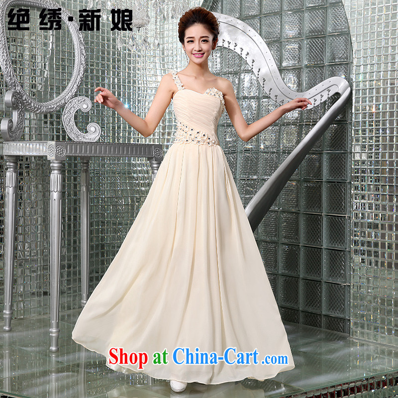 wedding dresses new 2015 bridal wedding toast serving Korean single shoulder Princess flowers short bridesmaid evening dress champagne color long, do not return
