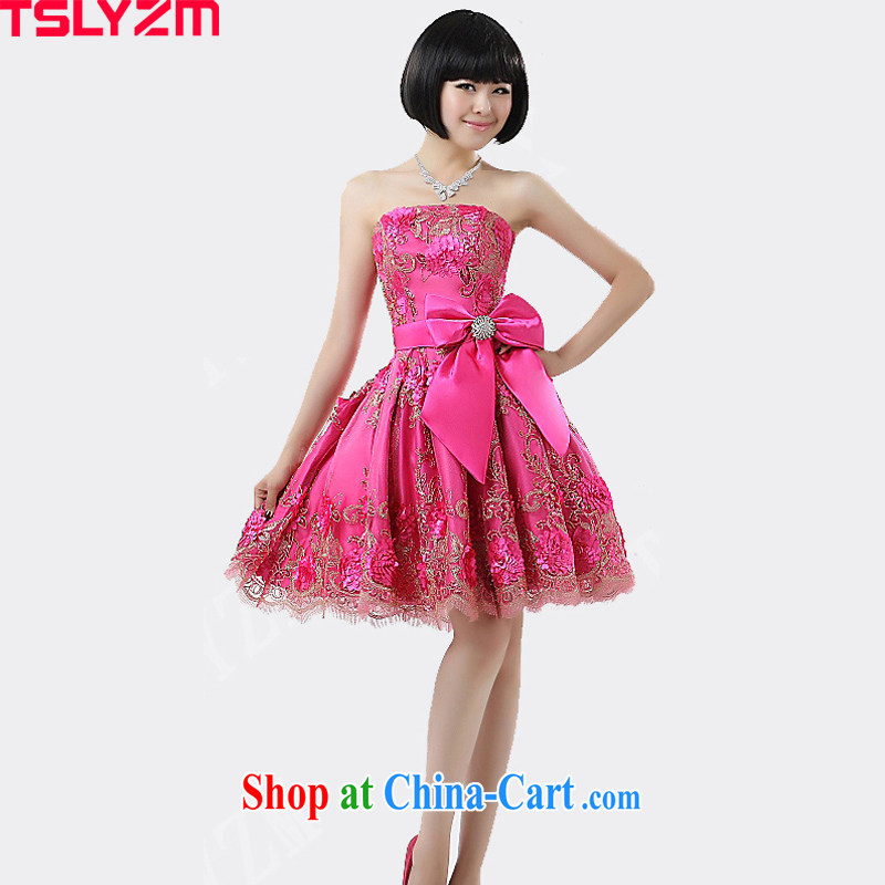 Students perform load serving women Mary Magdalene chest short bow-tie show moderator ball bridesmaid bride's dinner with the dress of the Red Red L