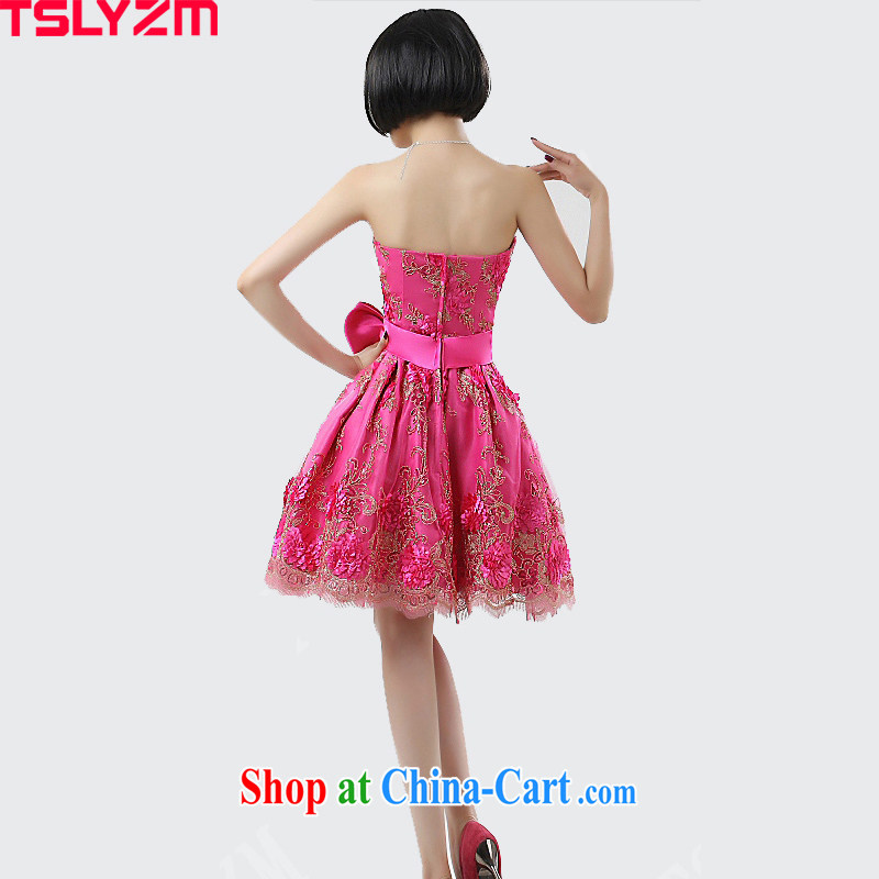Students perform load serving girl wiped chest short bow-tie show moderator ball bridesmaid bride's dinner with the dress of the Red Red L, Tslyzm, shopping on the Internet