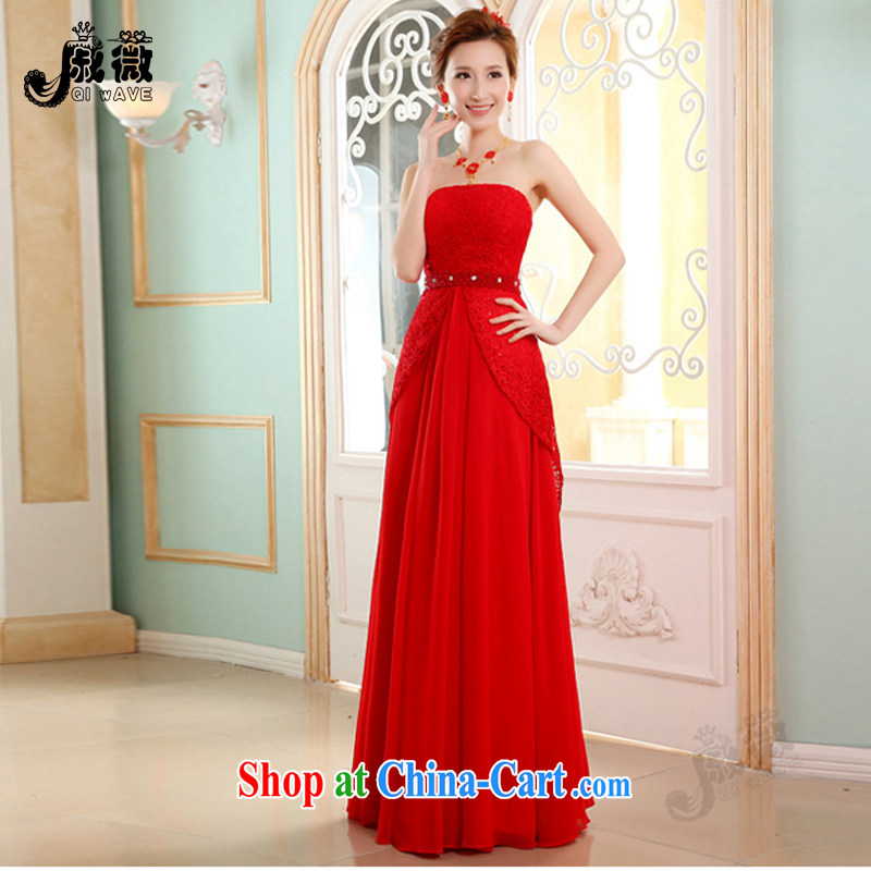 Wei Qi marriages served toast red Long, New 2015 summer stylish wedding dresses lace snow woven beauty presided over Mary Magdalene dress chest ball female Red XL
