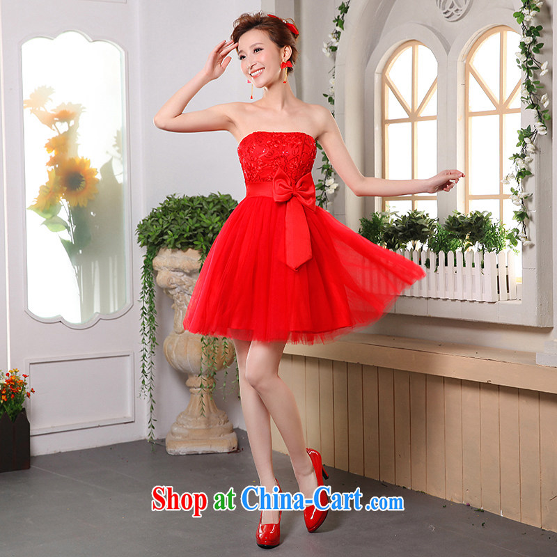 Qi wei wedding dresses 2015 summer new erase chest bowtie shaggy dress short dress bride wedding toast serving evening banquet moderator dress female Red XL