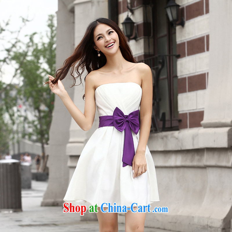 Qi wei summer stylish short bridesmaid dress 2015 Korean-style bare chest sister bowtie bridal wedding bridesmaid dress in bows dress ivory white XL