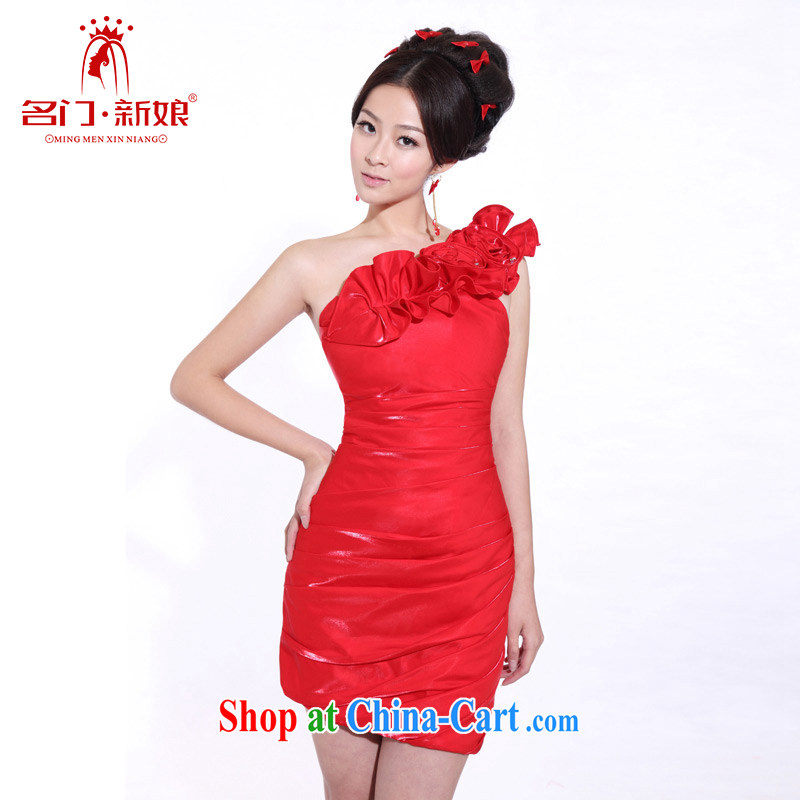 The Bridal Fashion bridesmaid dress single shoulder small dress bridesmaid dresses in 358 red L